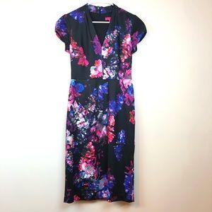 Betsey Johnson Midi Dress Floral Black Pink 4